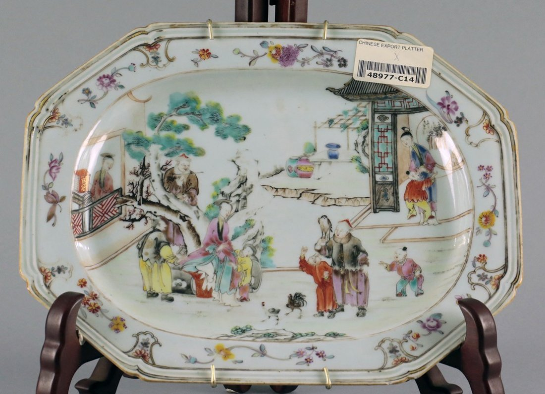 A Chinese Export Famille-Rose and Gilt figural Square