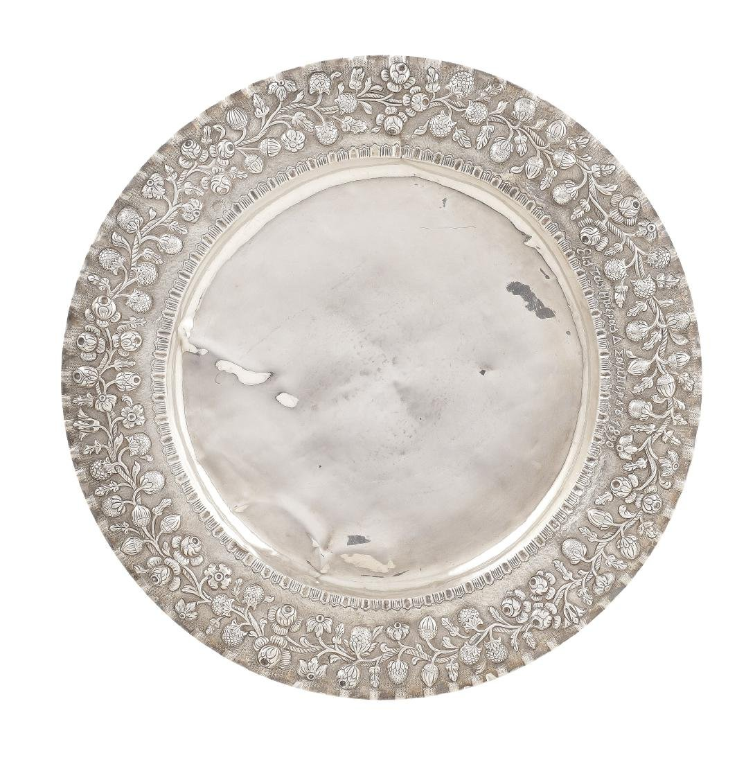 A silver plate late 19th century d. 41,5 cm.