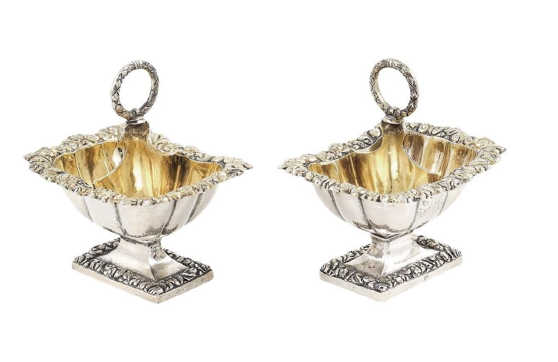 A pair of silver and vermeil saltcellars Naples, 19th