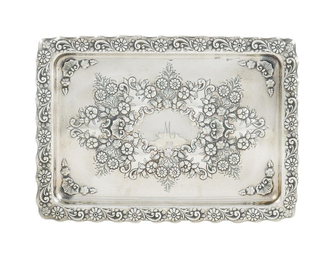 A silver rectangular plate late 19th century 23x32,5