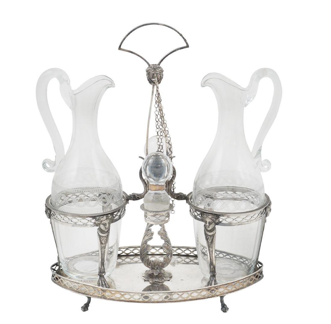 A silver oil jug with two cruets Naples, 19th century