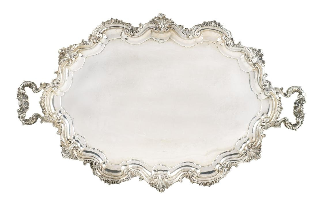 A silver large tray with two handles Lombardo Veneto