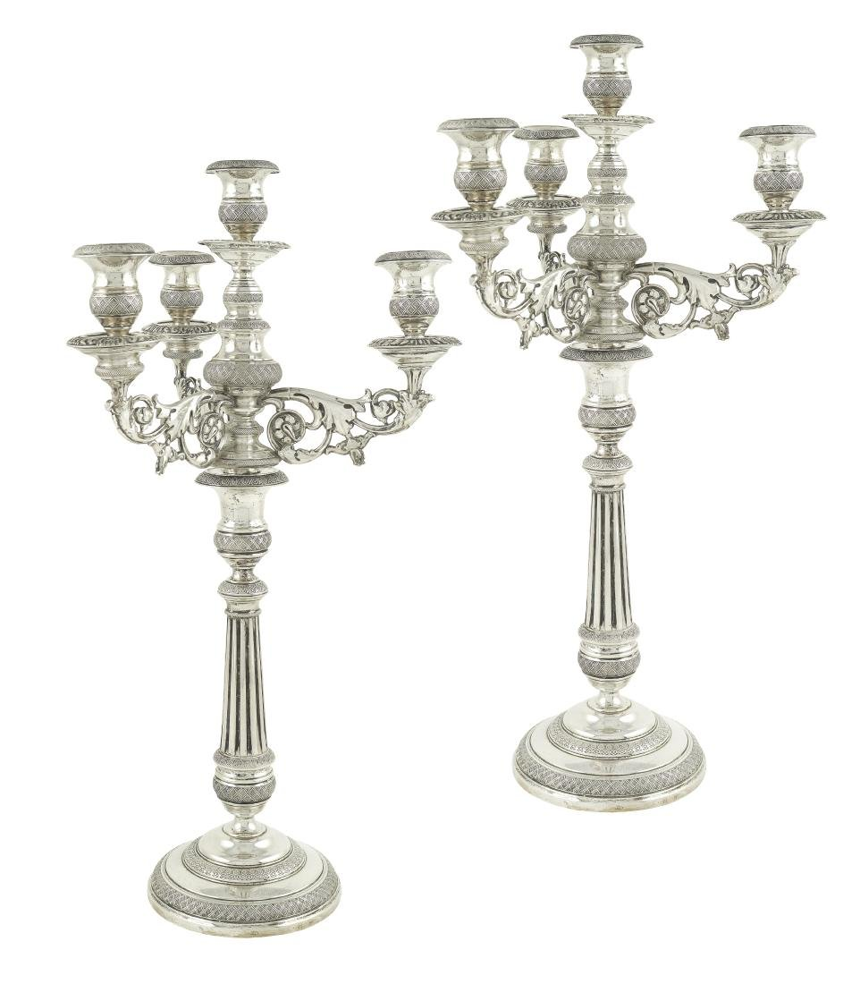 A pair of silver candelabra 4 flames Rome, first half