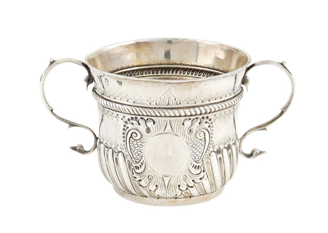 A silver porridge cup with two handles London, 1707