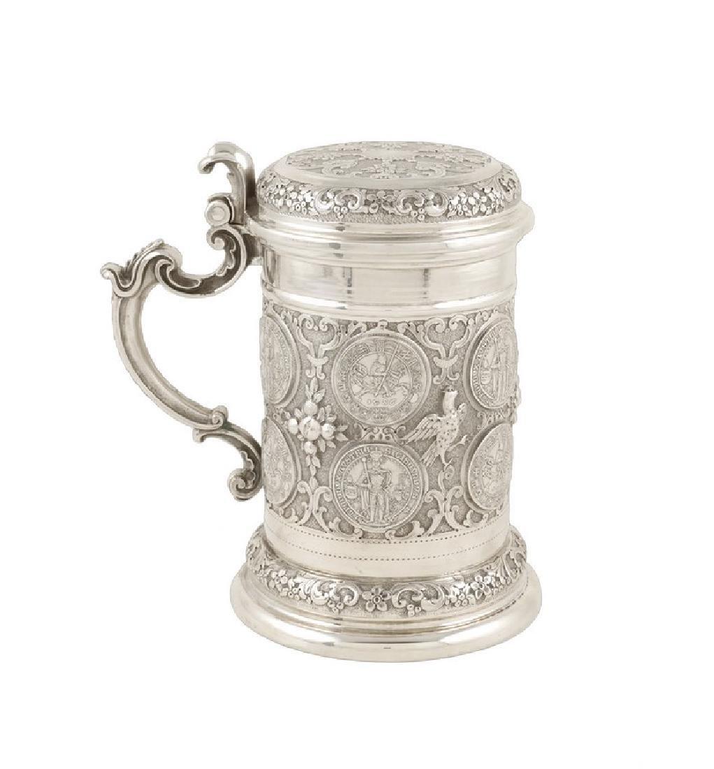 An 800 silver tankard Florence, 20th century 22x15 cm. - 2