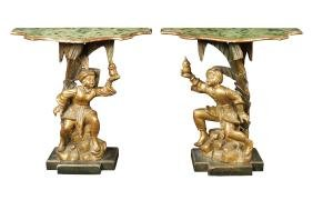 A pair of giltwood consoles Italy, 19th century
