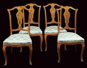 Four rosewood and mohagany chairs Italy, antique