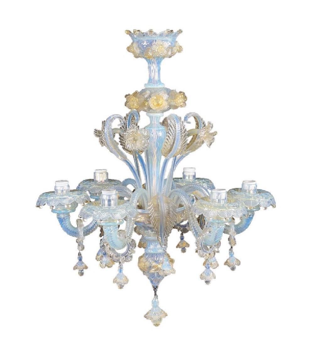 A six lights chandelier Murano, 20th century 77x61 cm.