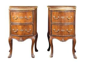 A pair of walnut night tables Italy, antique