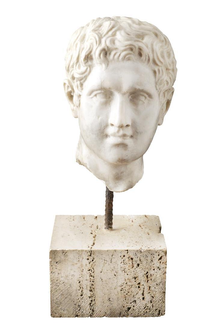 A white marble head Italy, late XVIII century h. 52 cm.