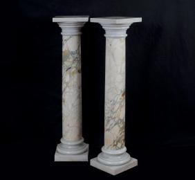 A pair of Calacatta marble turned columns Italy, 20th
