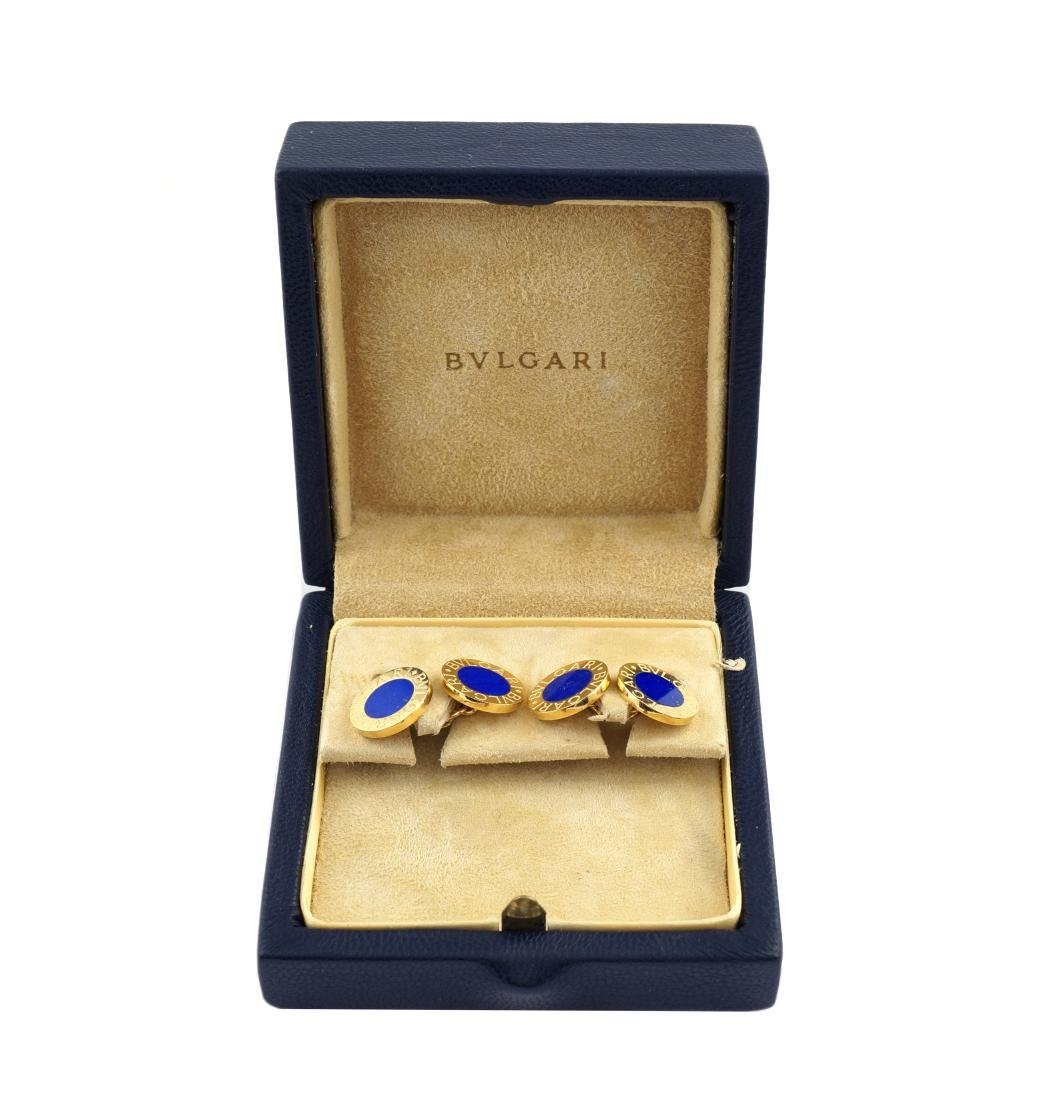 A pair of Bugari 18kt gold cufflinks and lapis lazulo