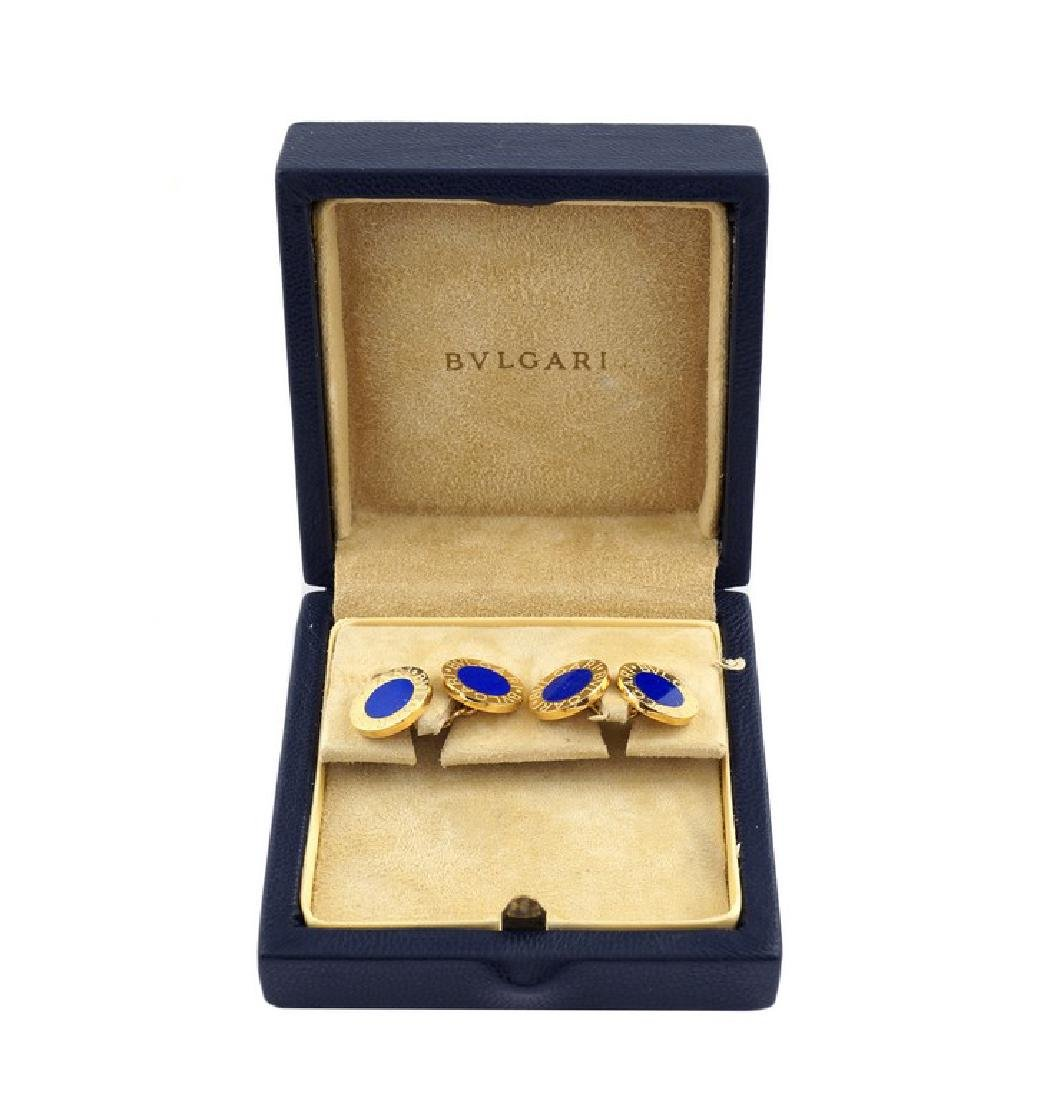 A pair of Bugari 18kt gold cufflinks and lapis lazulo - 2