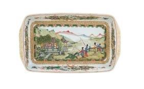 A rectangular polyhchromatic porcelain plate China,