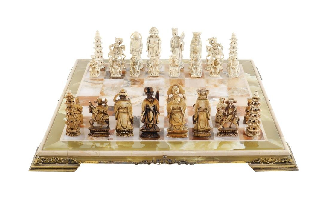 An onyx chessboard 20th century 46,5x46,5 cm.