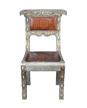 A silver plate chair Turkey, old manufacture 100x59x52