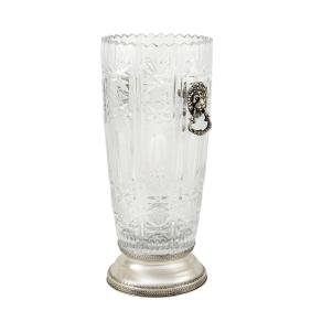 A crystal and silver vase Boemia, 20th century h. 31 -