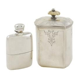 A silver box and a liqueur flask Italy, 20th century