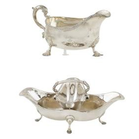 Two silverplate sauce boats 20th century
