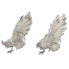 A pair of silverplate decorated cocks 20th century