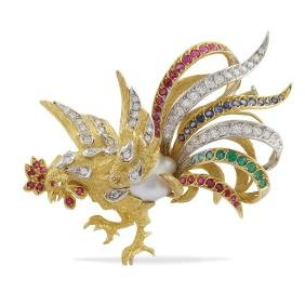 Chantecler, an 18kt gold brooch  peso 34 gr.