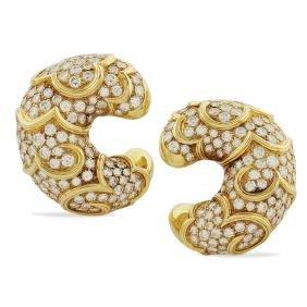 Marina Bulgari, demi lune earrings signed peso 43,2 gr.