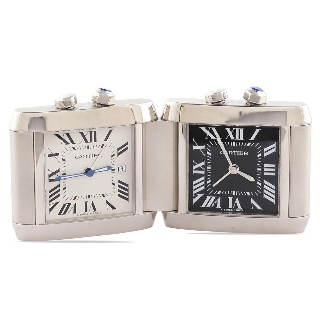 Cartier Tank Duo, travel alarm clock signed and n.