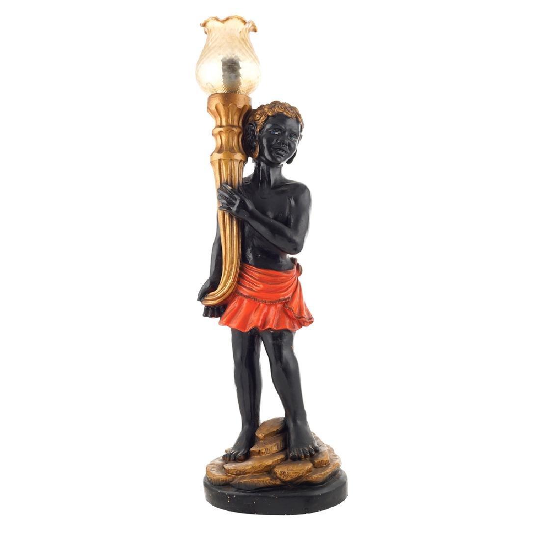 Polychrome wooden lamp France 20th century h. 70 cm.
