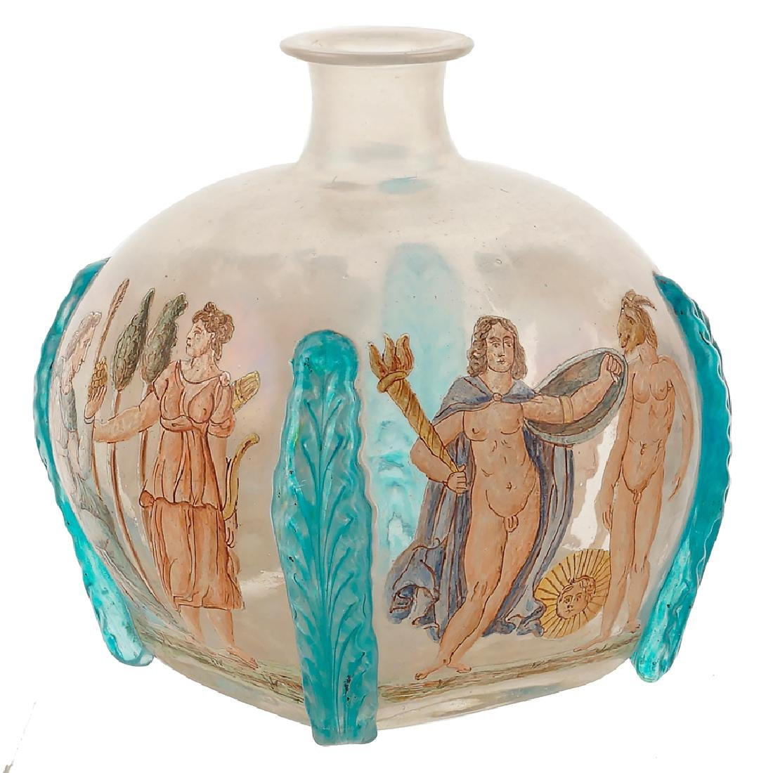 A colored and enamelled glass bottle Italy around 1930