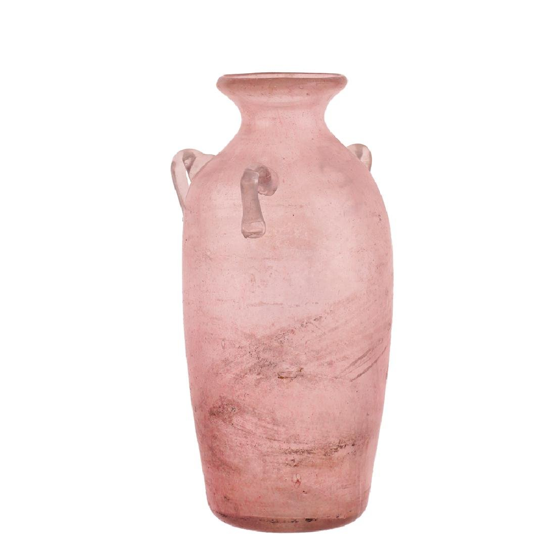 Pink blown glass vase Italy 20th century h. 27 cm.
