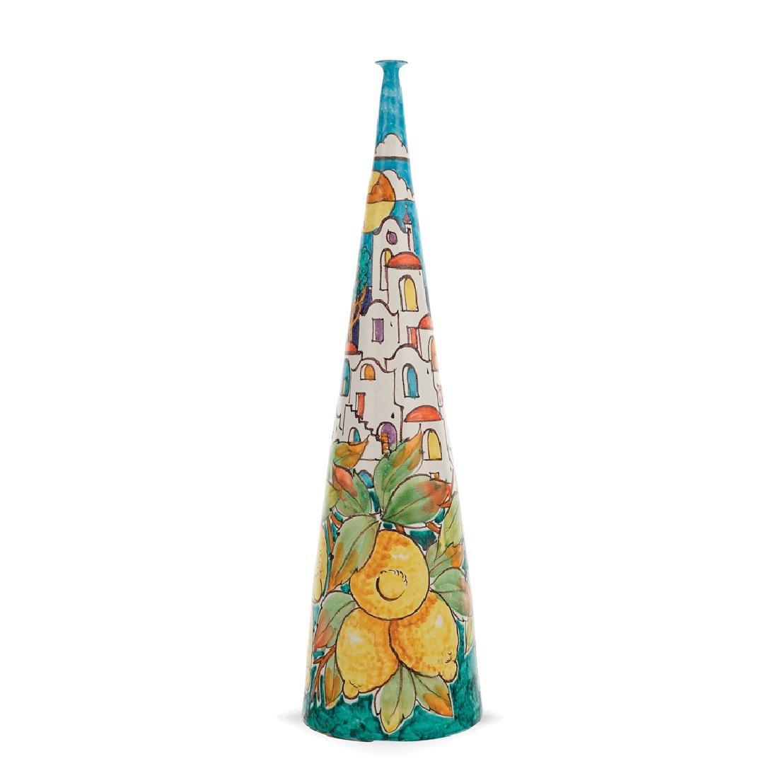 Glazed ceramic vase Vietri 20th century h. 39 cm.