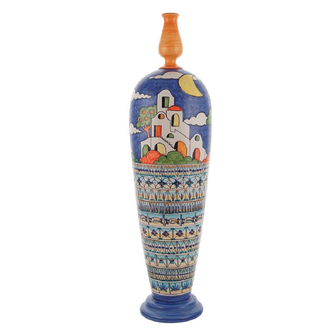 Ceramic vase Vietri 20th century h. 70 cm.