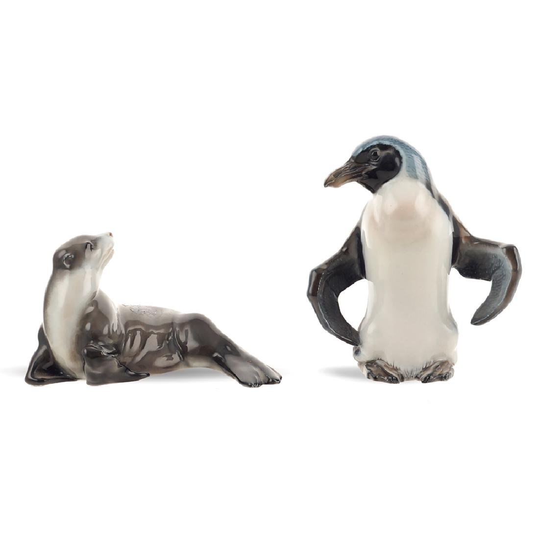A pair of porcelain animals 20th century