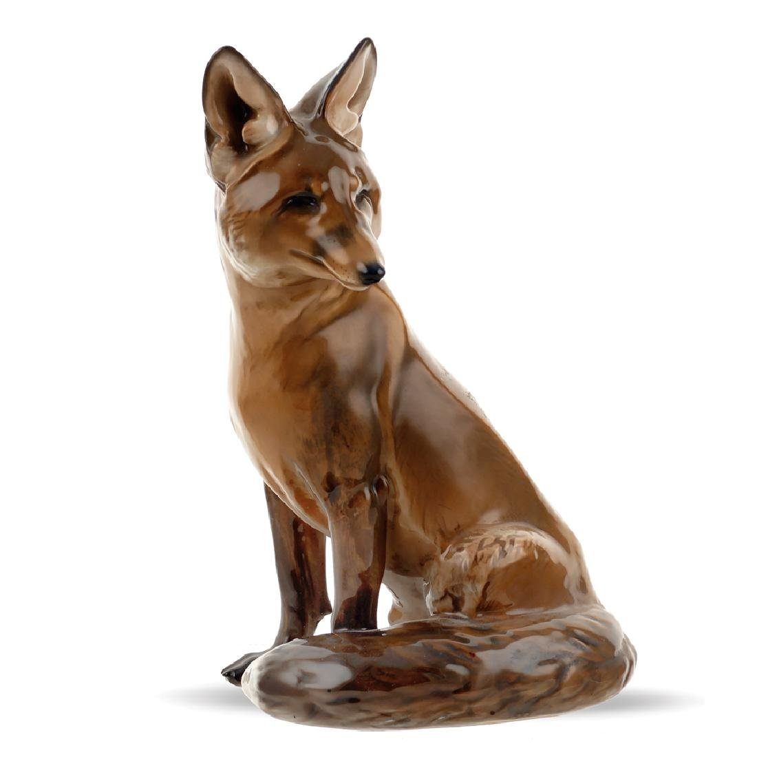 A porcelain fox Germany 20th century 24x16x11 cm.