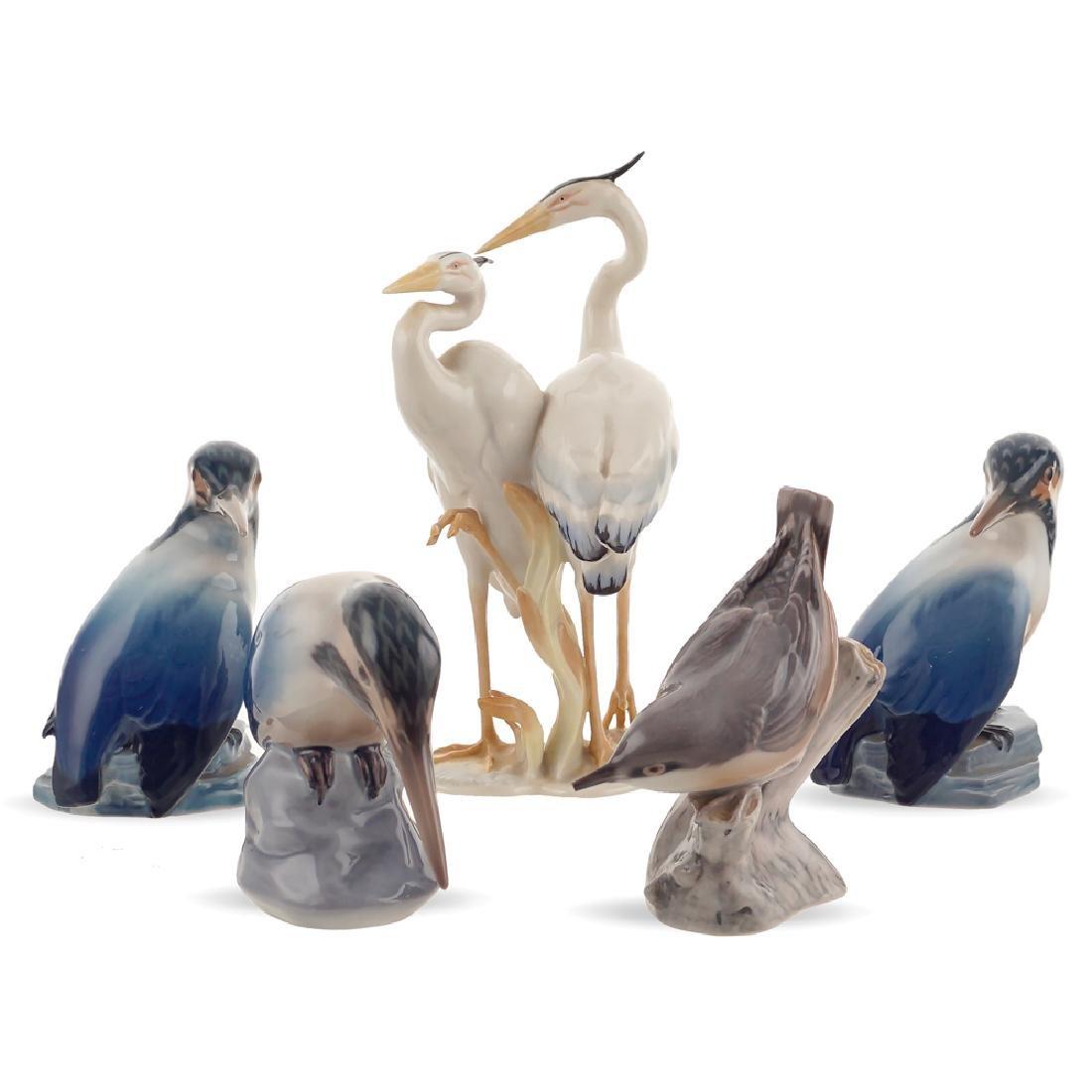 Five porcelain birds