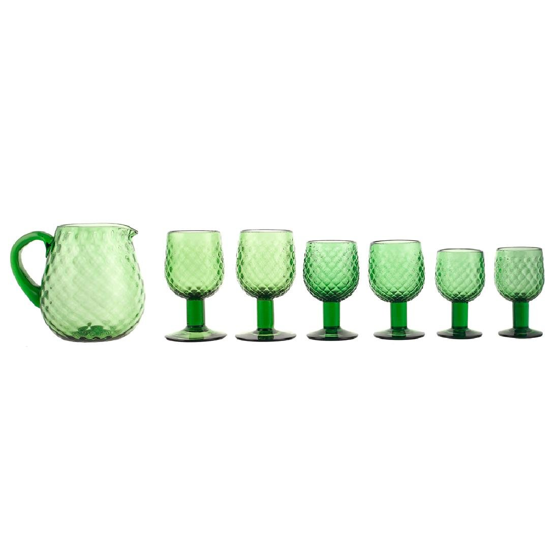 A green glass calice service 20th century