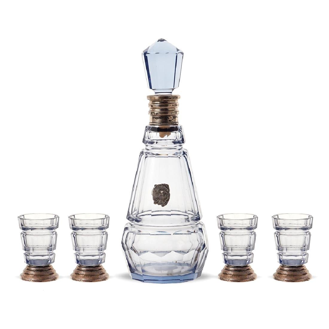A glass liquor set Bohemia early 20th century h. 24 cm.