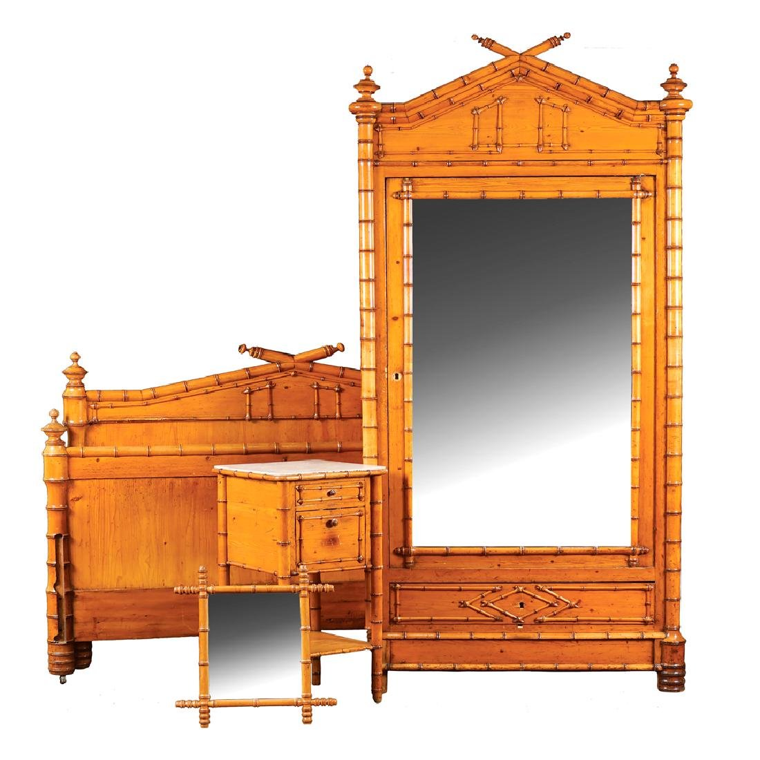 Fir wood and bambù— bedroom France early 20th century