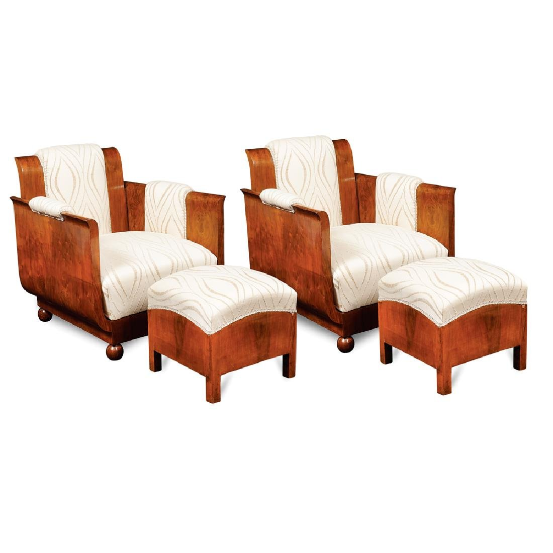 A pair of Decò armchairs and footstools France early