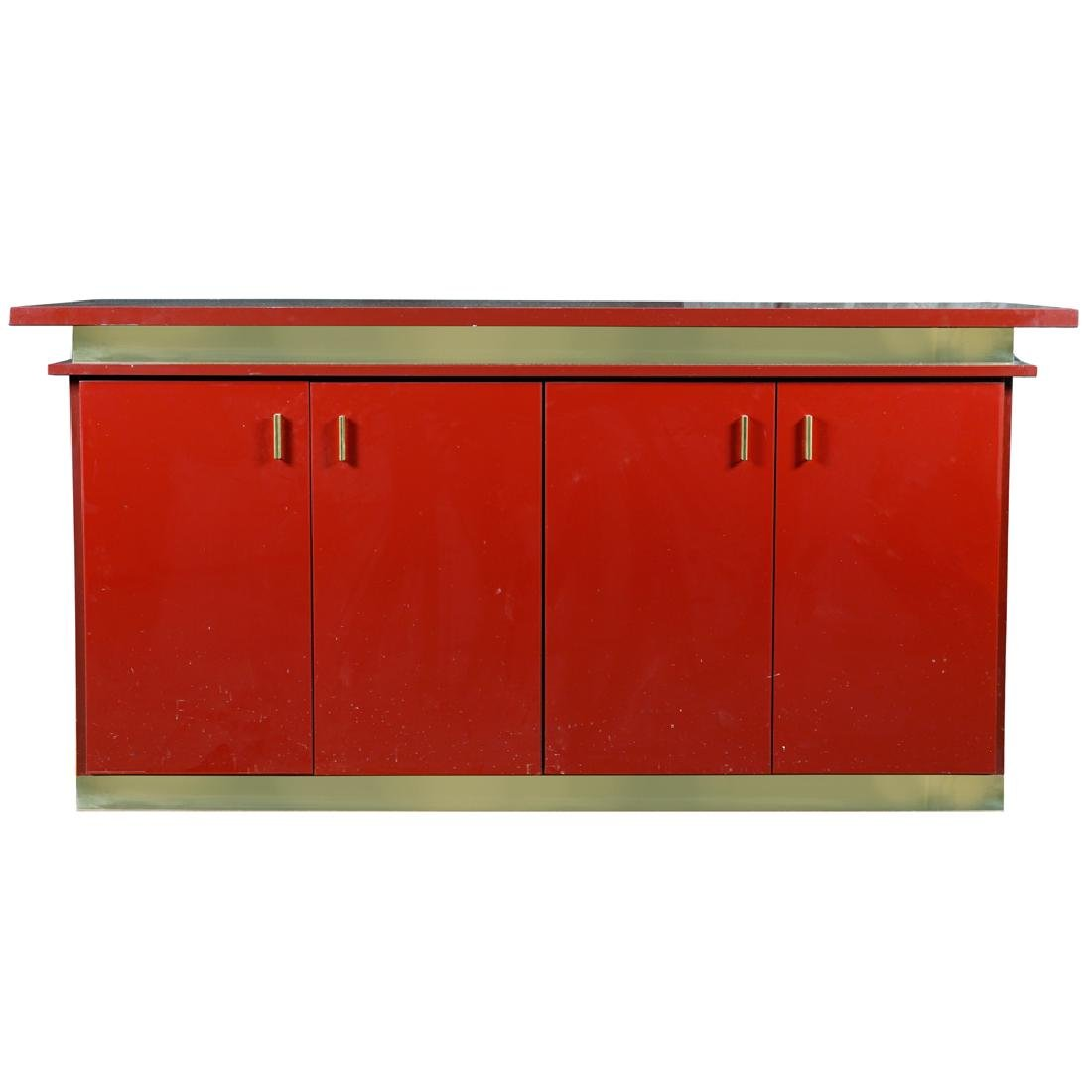 Red laminated wooden sideboard France 20th century