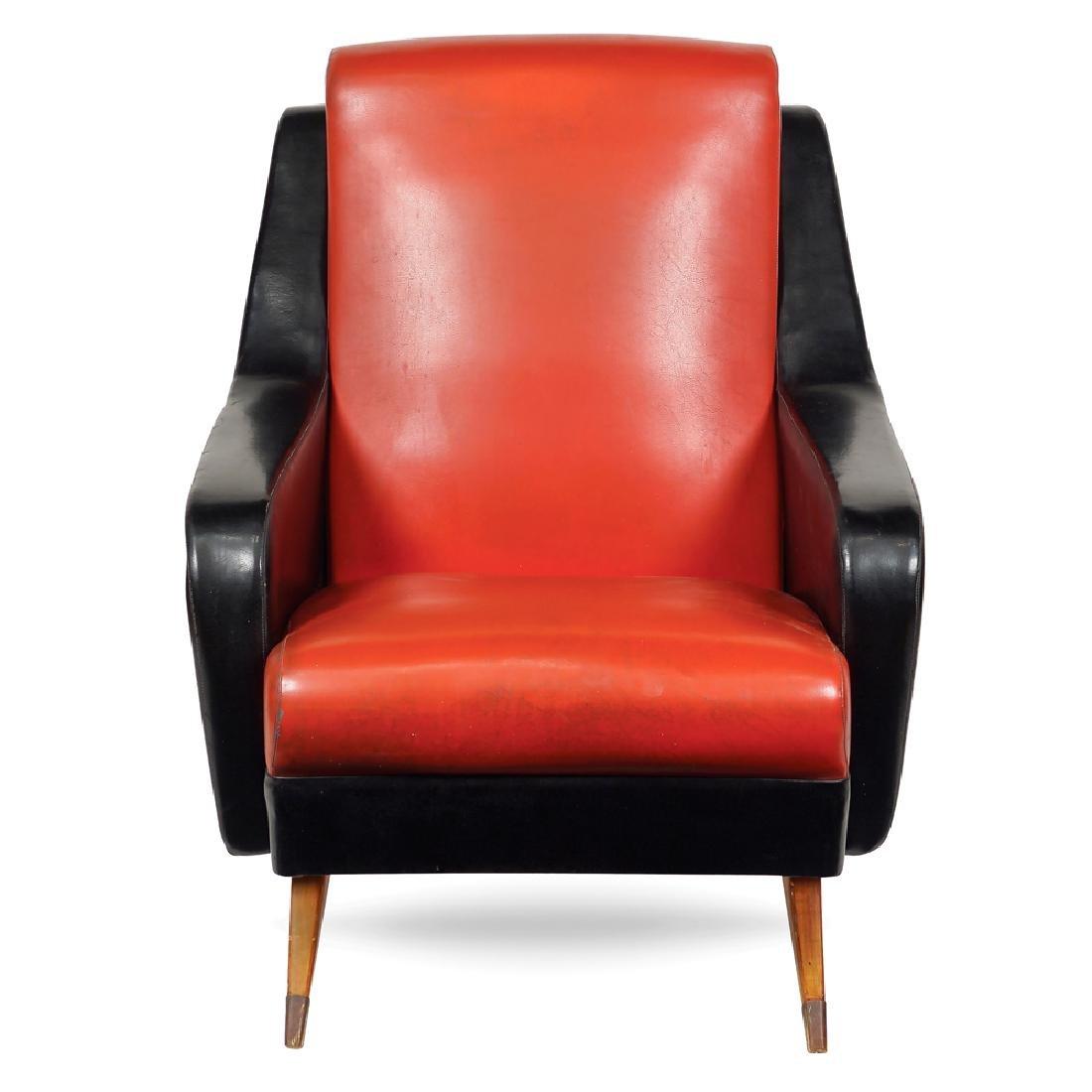 Faux leather armchair France 20th century 85x80x50 cm.