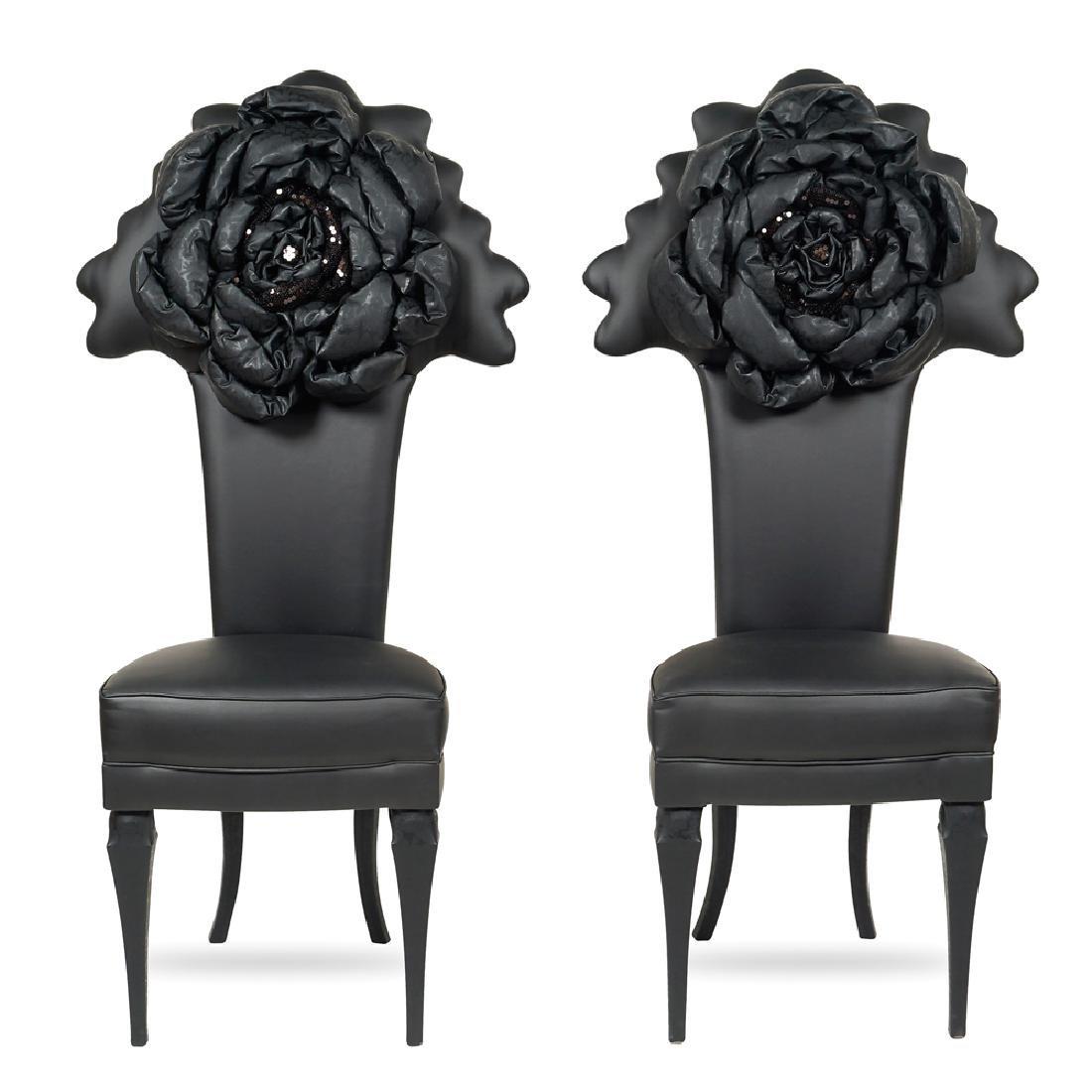 "Pair of ""Black Flower"" chairs 20th century 147x48x55 cm"