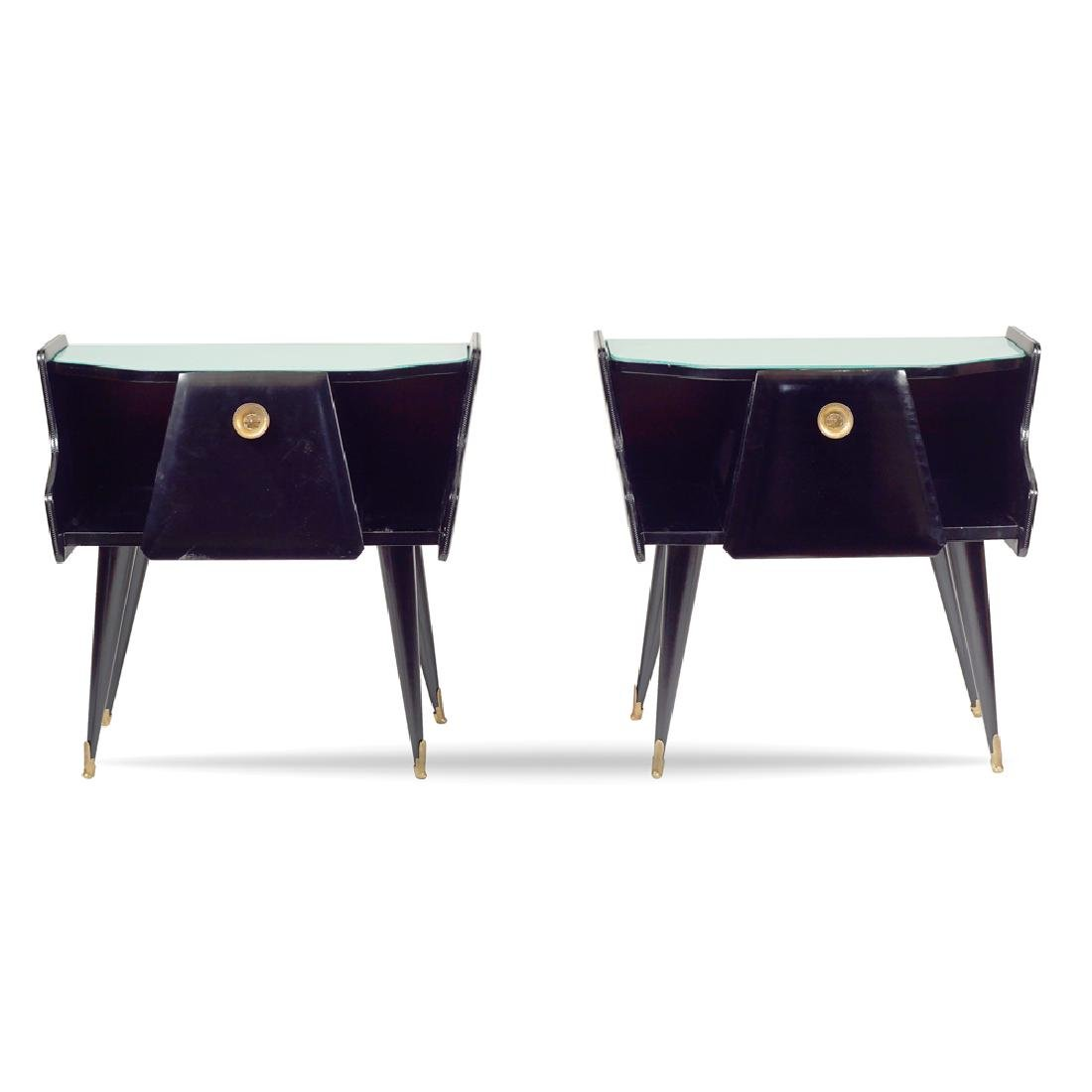 A pair of ebonized wood bedside tables Italy mid 20th