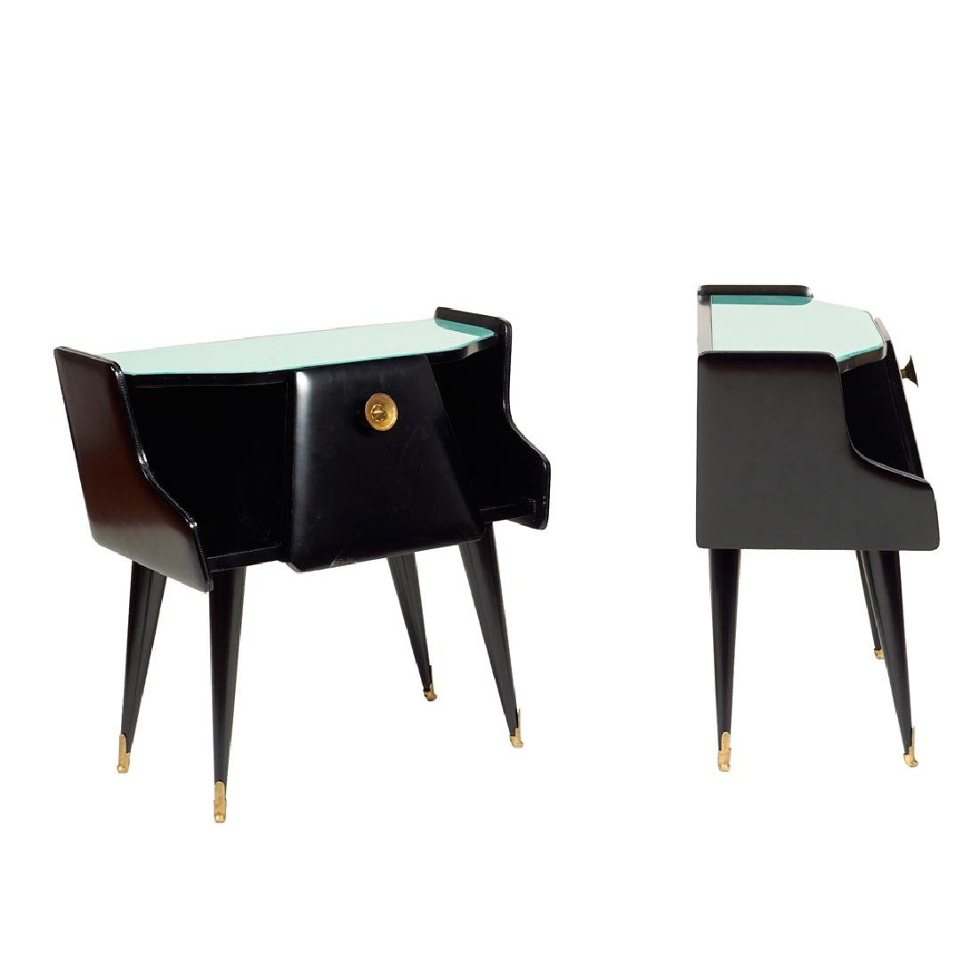 A pair of ebonized wood bedside tables Italy mid 20th - 2