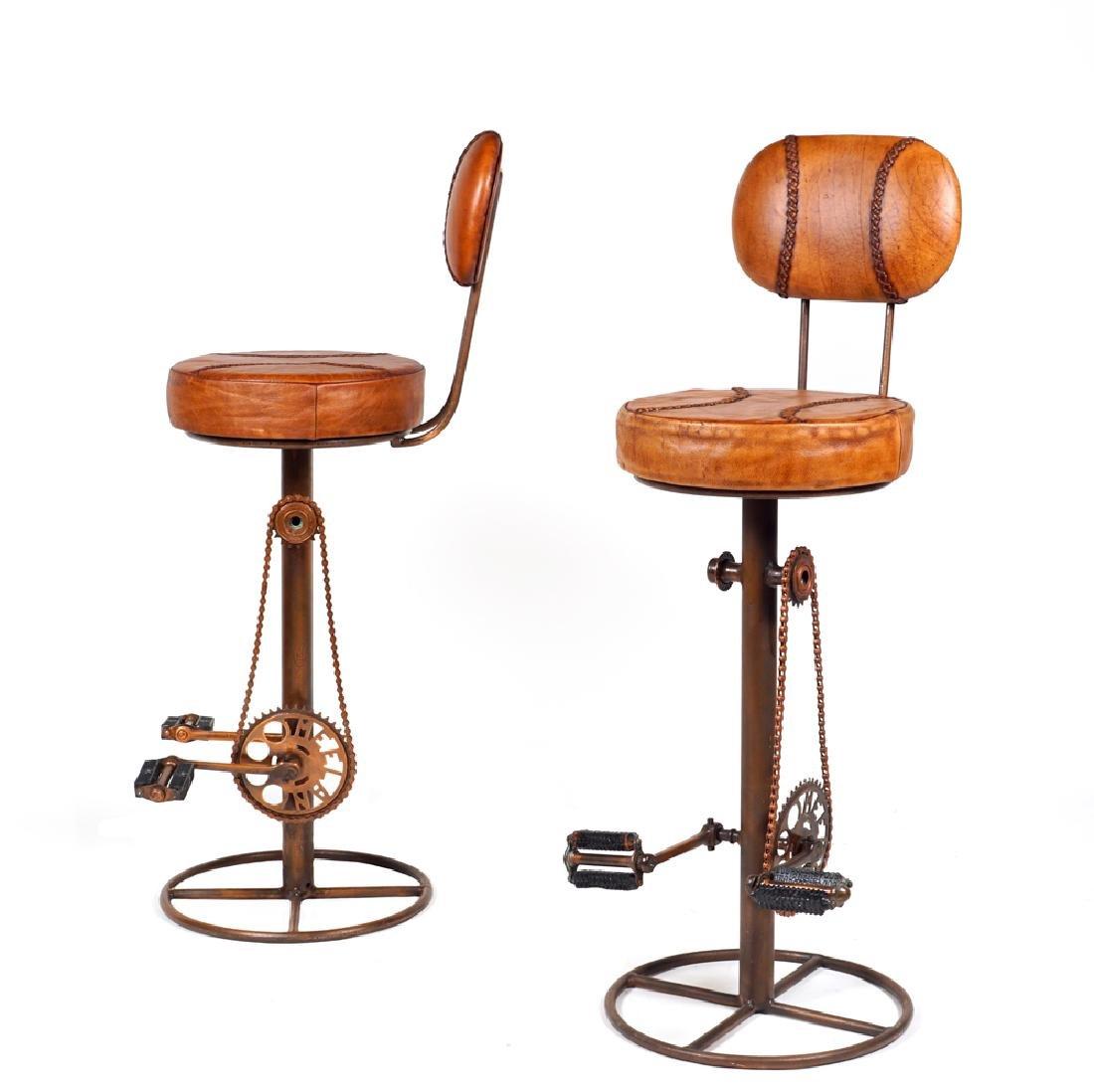 Pair of bar cycle stools 20th century 116x42x42 cm.