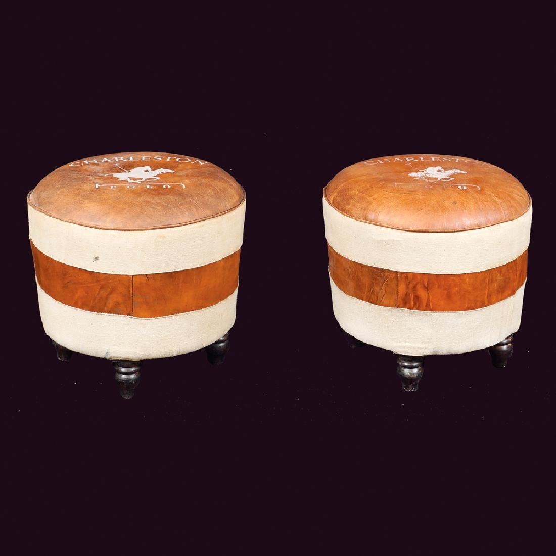 A pair of polo stools in leather and fabric 20th