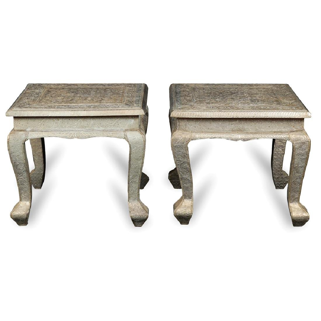 A pair of wooden tables Oriental manifacture 20th