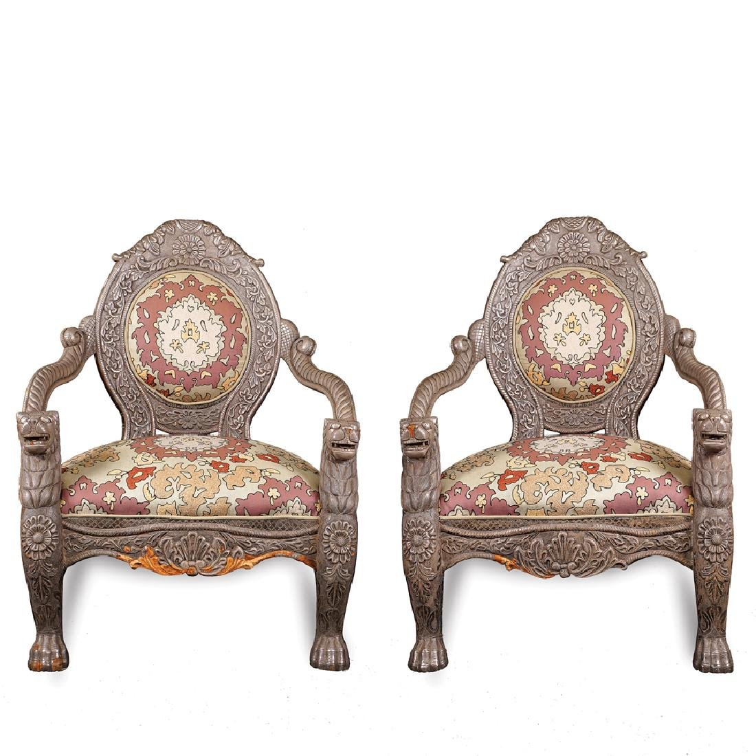 Pair of wooden armchairs oriental manifacture 20th