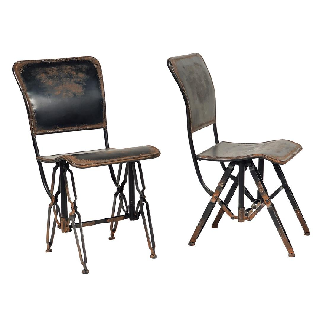 Pair of iron chairs 20th century 89x43x46 cm.
