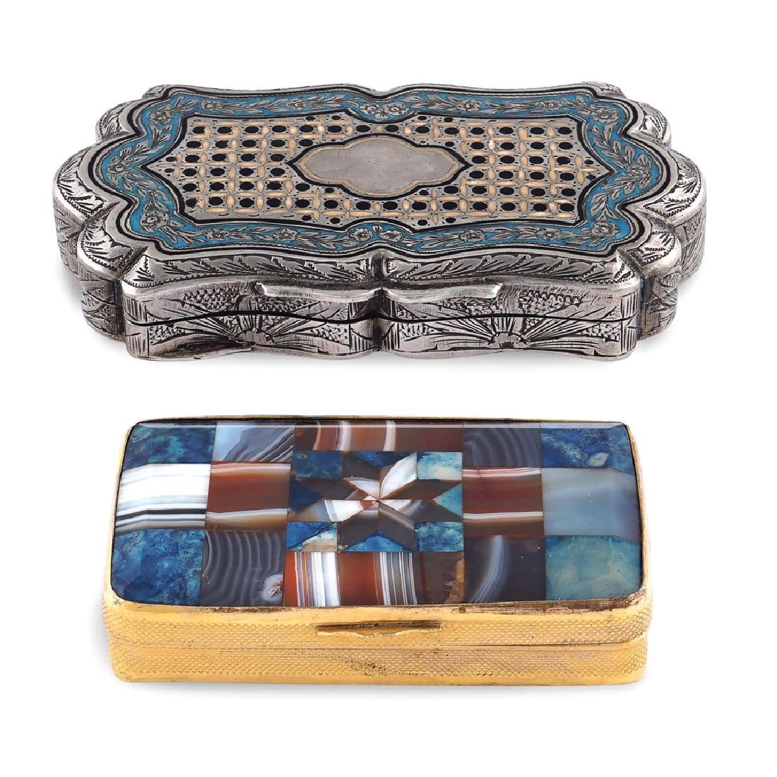 Two silver and hard stones snuff boxes 19th - 20th